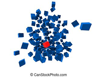 cubes blowing up - 3d rendered illustration of one red and...
