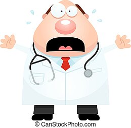 Scared Cartoon Doctor - A cartoon illustration of a doctor...