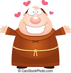 Cartoon Monk Hug - A cartoon illustration of a monk ready to...