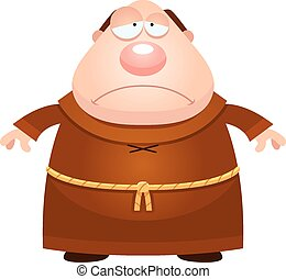 Sad Cartoon Monk - A cartoon illustration of a monk looking...