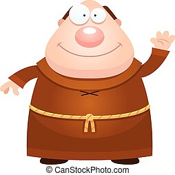 Cartoon Monk Waving - A cartoon illustration of a monk...