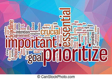 Prioritize word cloud with abstract background - Prioritize...