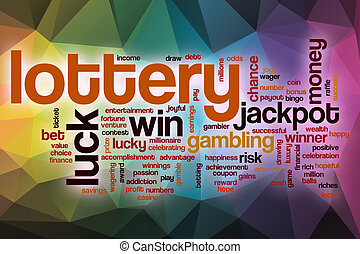 Lottery word cloud with abstract background