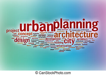 Urban planning word cloud with abstract background