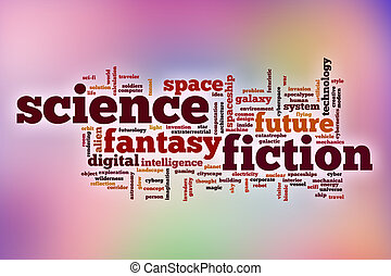 Science fiction word cloud with abstract background
