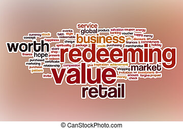 Redeeming value word cloud with abstract background -...
