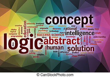 Logic word cloud with abstract background
