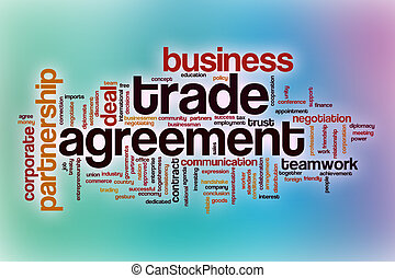 Trade agreement word cloud with abstract background