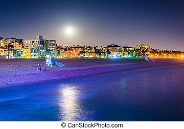 Moonrise over the beach in Santa Monica, California.
