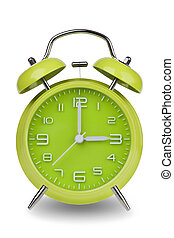 Green alarm clock with hands at 3 am or pm - Green alarm...