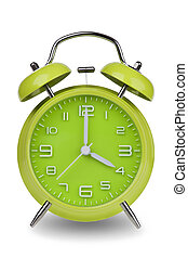 Green alarm clock with hands at 4 am or pm - Green alarm...