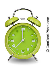 Green alarm clock with hands at 12 am or pm - Green alarm...