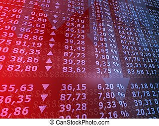 stock market - 3d rendered illustration of a board with many...