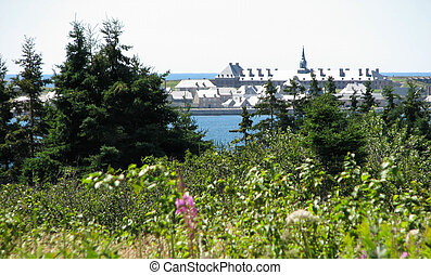 Ft Louisbourg, Nova Scotia - Frontal view of Ft Louisbourg,...