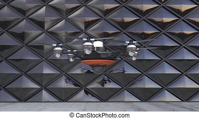 Drone with surveillance camera Security system concept