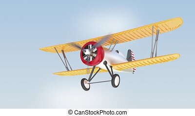 Biplane flying in the sky - Yellow and silver biplane flying...