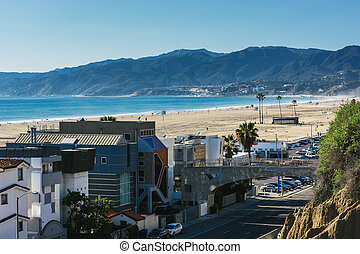 View of Pacific Coast Highway and the Santa Monica Mountains...