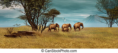 African Elephants, 3d CG - 3D computer graphics of a...