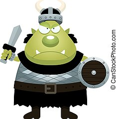 Angry Cartoon Orc - A cartoon illustration of an orc looking...
