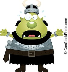 Scared Cartoon Orc - A cartoon illustration of an orc...