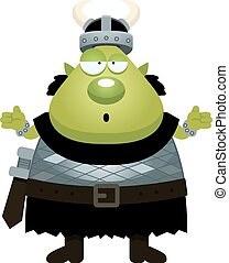 Confused Cartoon Orc - A cartoon illustration of an orc...