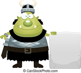 Cartoon Orc Sign - A cartoon illustration of an orc with a...