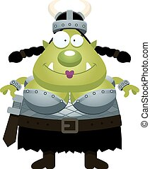 Happy Cartoon Orc - A cartoon illustration of an orc looking...