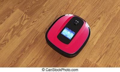 Robot vacuum cleaner on flooring - Robot vacuum cleaner...