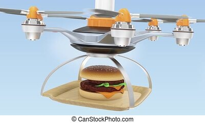 Air drone serving hamburger for fast food take out concept