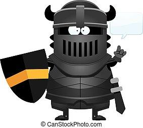 Cartoon Black Knight Talking - A cartoon illustration of the...