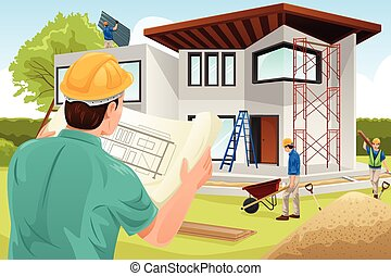 Architect working at the construction site - A vector...