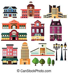 Buildings and lamp post icons - A vector illustration of...