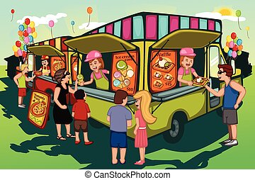 Food truck festival - A vector illustration of people in...