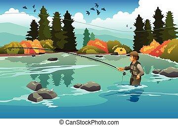 hombre, flyfishing, en, Un, río,
