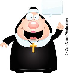 Cartoon Nun Talking - A cartoon illustration of a nun...