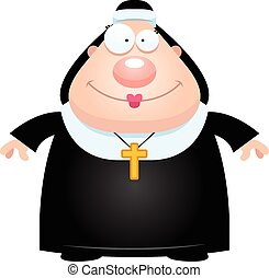 Happy Cartoon Nun - A cartoon illustration of a nun looking...
