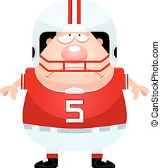 Sad Cartoon Football Player - A cartoon illustration of a...