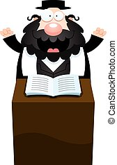 Cartoon Rabbi Sermon - A cartoon illustration of a rabbi...