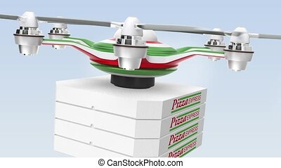 Air drone delivering pizza  for fast food take out concept