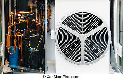 AC Air conditioning unit - Transparent heating and AC air...