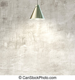 wall with lamp