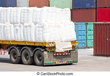 Truck transporting in port for cargo