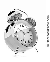 alarm clock - 3d rendered illustration of a silver alarm...