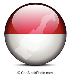 Map on flag button of Principality Monaco - Vector Image -...