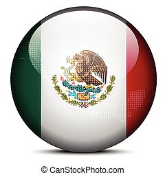 Map with Dot Pattern on flag button of United Mexican States