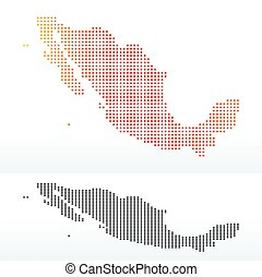 Map of United Mexican States with Dot Pattern