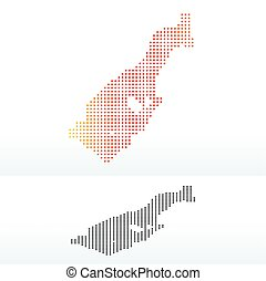 Map of Principality Monaco with Dot Pattern - Vector Image -...