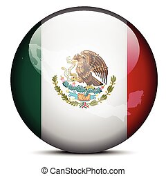 Map on flag button of United Mexican States