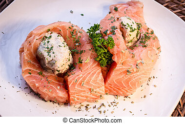 Salmon With Crab Stuffing - Salmon fillets with crab...