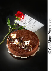 Mother Day Cake with rose on dark background